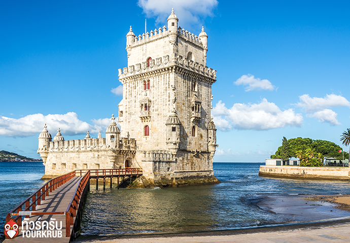View at the Belem tower at the bank of Tejo River in Lisbon Portugal