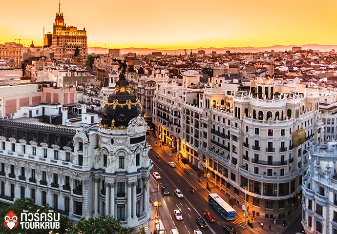 Panoramic aerial view of Gran Via, main shopping street in Madrid, capital of Spain, Europe