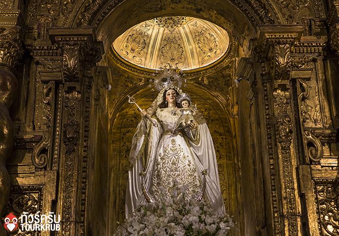 SEVILLE, ANDALUSIA SPAIN interiors of Santa maria la blanca church in Seville andalusia spain